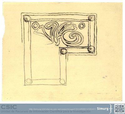 Javier de Winthuysen (1874-1960) | Material gráfico; Boceto de parterre del Jardín de la Isla de Aranjuez