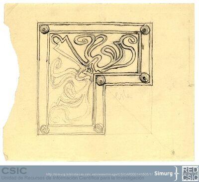 Javier de Winthuysen (1874-1960) | Material gráfico; Dibujo de un parterre del Jardín de la Isla de Aranjuez