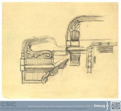 Javier de Winthuysen (1874-1960) | Material gráfico; Dibujo de uno de los bancos del jardín de la Isla de Aranjuez