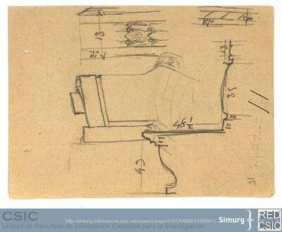 Javier de Winthuysen (1874-1960) | Material gráfico; Detalle del banco del Jardín de la Isla de Aranjuez