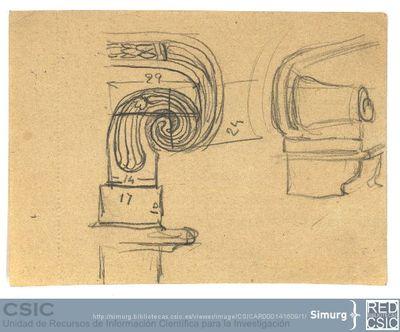 Javier de Winthuysen (1874-1960) | Material gráfico; Detalle de los bancos del Jardín de la Isla de Aranjuez
