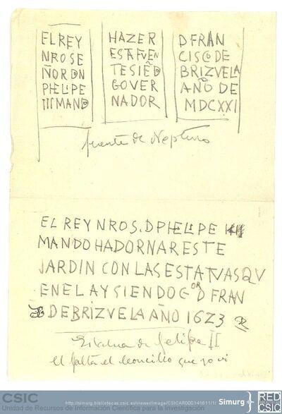 Javier de Winthuysen (1874-1960) | Material gráfico; Copia de las inscripciones de la fuente de Neptuno y de la estatua de Felipe II