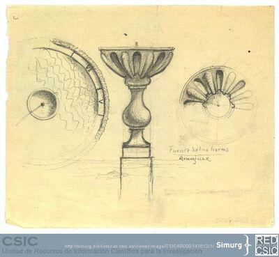 Javier de Winthuysen (1874-1960) | Material gráfico; Dibujo de la fuente de las horas de Aranjuez