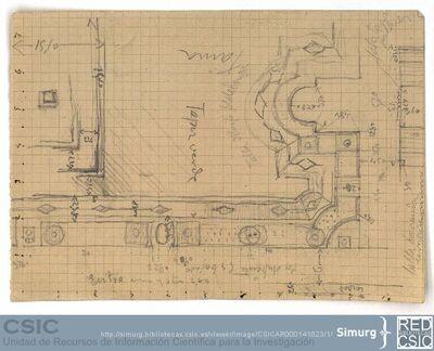 Javier de Winthuysen (1874-1960) | Material gráfico; Planta del jardín del Príncipe del Pardo con numerosas anotaciones y medidas