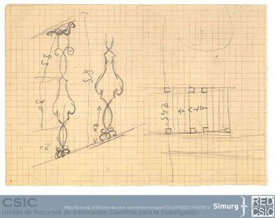 Javier de Winthuysen (1874-1960) | Material gráfico; Boceto de la barandilla del Jardín de Robledo