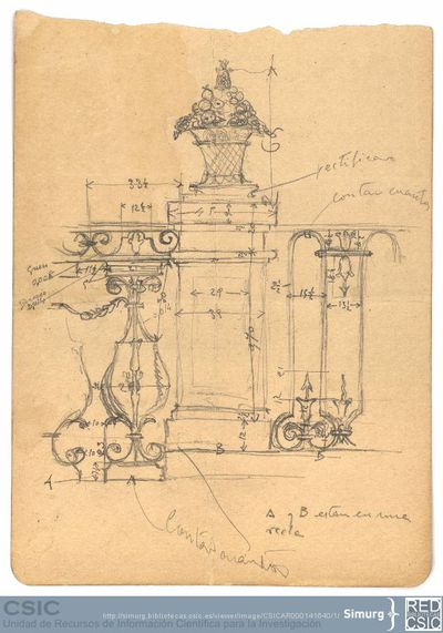 Javier de Winthuysen (1874-1960) | Material gráfico; Boceto de la verja del jardín de la Granja de San Ildefonso