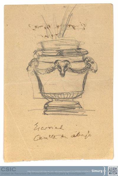 Javier de Winthuysen (1874-1960) | Material gráfico; Detalle de jarrón del jardín de la Casita del Príncipe