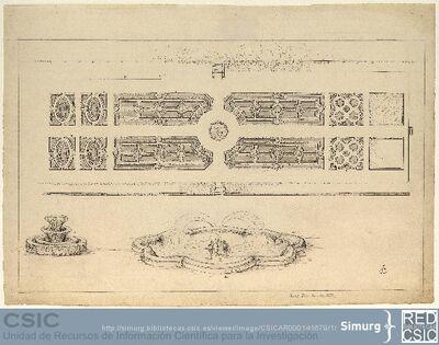 Javier de Winthuysen (1874-1960) | Material gráfico; Plano del jardín El parterre con detalle de la fuente central y el dibujo de un seto