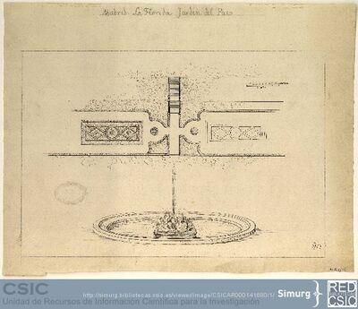Javier de Winthuysen (1874-1960) | Material gráfico; Plano del jardín del Paso y dibujo de la fuente del antiguo Real Sitio de la Florida