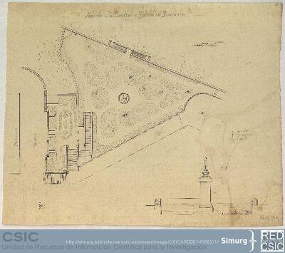 Javier de Winthuysen (1874-1960) | Material gráfico; Plano del jardín de la Moncloa con el diseño barroco del jardín