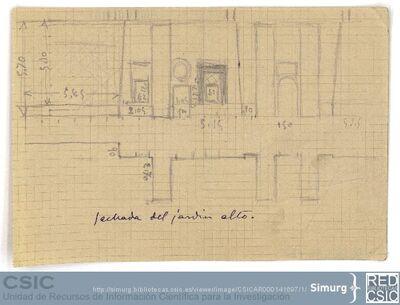 Javier de Winthuysen (1874-1960) | Material gráfico; Dibujo de la fachada del jardín alto del Palacete de la Moncloa
