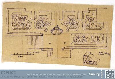 Javier de Winthuysen (1874-1960) | Material gráfico; Planta del jardín alto del Palacete de la Moncloa, con detalles de la moldura de la fuente