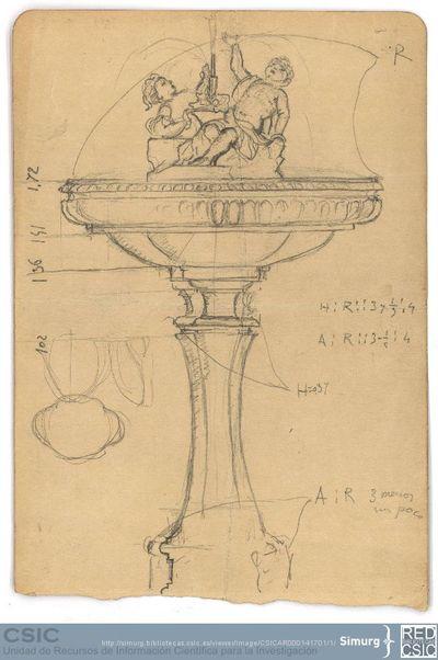Javier de Winthuysen (1874-1960) | Material gráfico; Dibujo de fuente del Jardín de la Moncloa