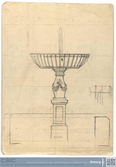 Javier de Winthuysen (1874-1960) | Material gráfico; Dibujo de la fuente de la Princesa del jardín del Palacete de la Moncloa