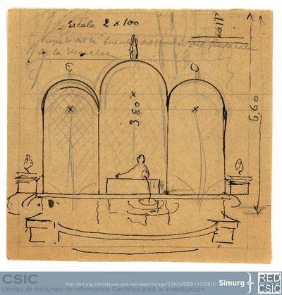Javier de Winthuysen (1874-1960) | Material gráfico; Boceto de la fuente del Palacete de la Moncloa
