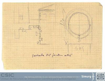 Javier de Winthuysen (1874-1960) | Material gráfico; Croquis de la fachada del jardín alto