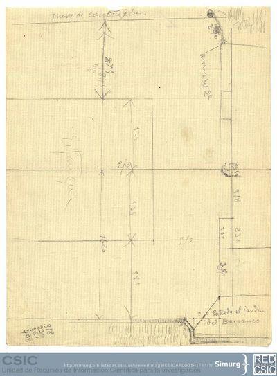 Javier de Winthuysen (1874-1960) | Material gráfico; Dibujo esquemático del jardín del Barranco en el Palacete de Moncloa