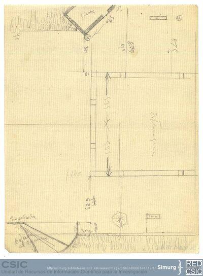 Javier de Winthuysen (1874-1960) | Material gráfico; Dibujo esquemático del estanque del jardín del Palacete de la Moncloa