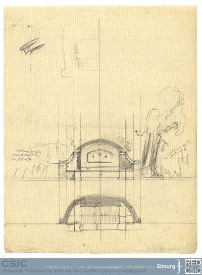 Javier de Winthuysen (1874-1960) | Material gráfico; Dibujo de una fuente del jardín del palacete de la Moncloa