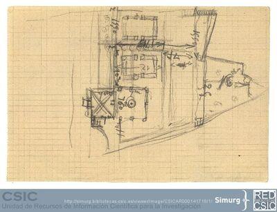 Javier de Winthuysen (1874-1960) | Material gráfico; Dibujo esquemático del jardín del Barranco del Palacete de la Moncloa