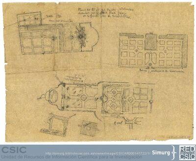 Javier de Winthuysen (1874-1960) | Material gráfico; Copia de planos de varios jardines reales (Casita del Príncipe del Pardo, Quinta del Duque de Arco, La Zarzuela)