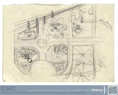 Javier de Winthuysen (1874-1960) | Material gráfico; Dibujo de unos parterres que llevan el nombre de los continentes