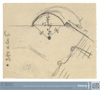 Javier de Winthuysen (1874-1960) | Material gráfico; Boceto acotado de la esquina del jardín del Caño Gordo (Sitio de la Moncloa)