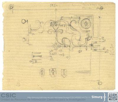 Javier de Winthuysen (1874-1960) | Material gráfico; Boceto de parterres con medidas de los mismos