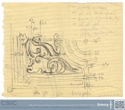 Javier de Winthuysen (1874-1960) | Material gráfico; Dibujo de parterre con medidas y anotaciones sobre la plantación