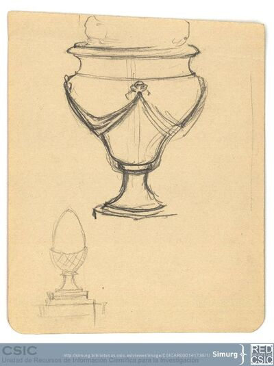 Javier de Winthuysen (1874-1960) | Material gráfico; Dibujos de ornamentos de jardín