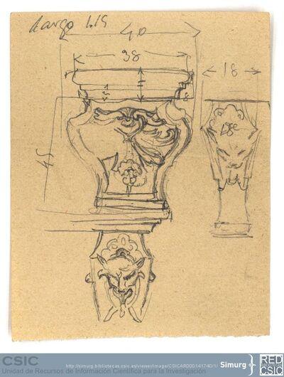 Javier de Winthuysen (1874-1960) | Material gráfico; Dibujo de filigrana de una fuente