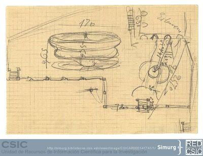 Javier de Winthuysen (1874-1960) | Material gráfico; Boceto de fuente y esquema de su situación en el jardín
