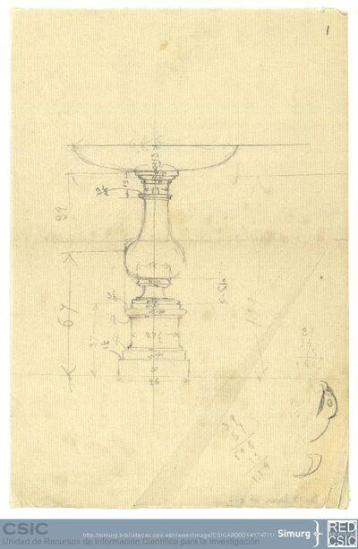 Javier de Winthuysen (1874-1960) | Material gráfico; Dibujo de fuentes con anotaciones de su tamaño