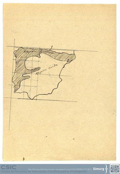 Javier de Winthuysen (1874-1960) | Material gráfico; Mapa de España delimitando la zona lluviosa de la zona árida