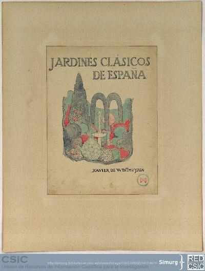 Javier de Winthuysen (1874-1960) | Material gráfico; Dibujo de la portada del libro Jardines Clásicos de España