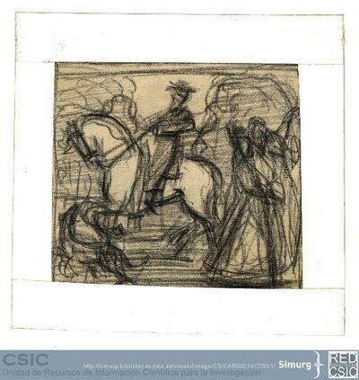 Javier de Winthuysen (1874-1960) | Material gráfico; Dibujo de un caballo con jinete