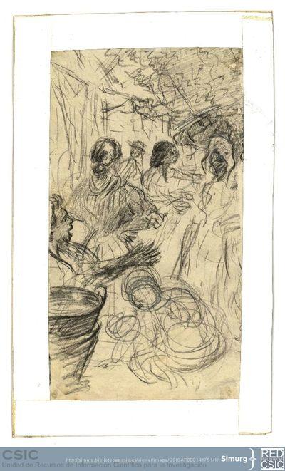 Javier de Winthuysen (1874-1960) | Material gráfico; Dibujo de un corrillo de mujeres
