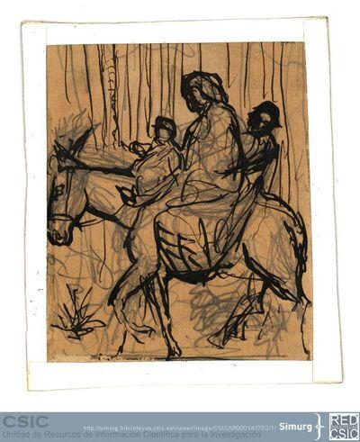 Javier de Winthuysen (1874-1960) | Material gráfico; Dibujo de familia montada sobre un asno