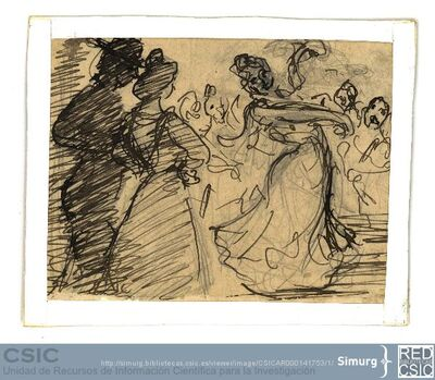 Javier de Winthuysen (1874-1960) | Material gráfico; Dibujo que representa a un baile andaluz