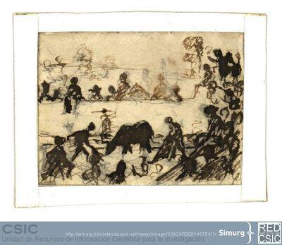 Javier de Winthuysen (1874-1960) | Material gráfico; Dibujo de una representación taurina