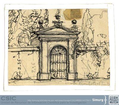 Javier de Winthuysen (1874-1960) | Material gráfico; Dibujo de una puerta con verja de hierro