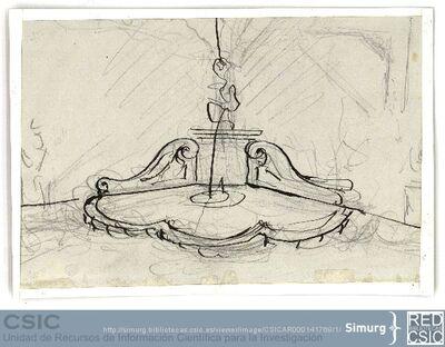 Javier de Winthuysen (1874-1960) | Material gráfico; Boceto de una fuente de rinconera