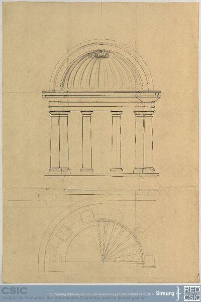 Javier de Winthuysen (1874-1960) | Material gráfico; Planta y sección de un templete circular para el proyecto del Sr. Sevilla