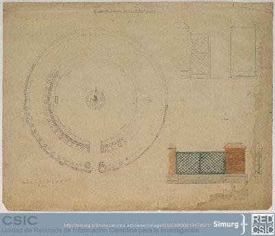 Javier de Winthuysen (1874-1960) | Material gráfico; Planta de la fuente y detalles de la puerta de entrada y verja del Jardincito del Príncipe de la