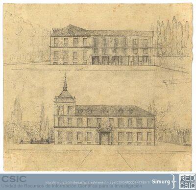 Javier de Winthuysen (1874-1960) | Material gráfico; Dibujo de dos fachadas de casa escurialense