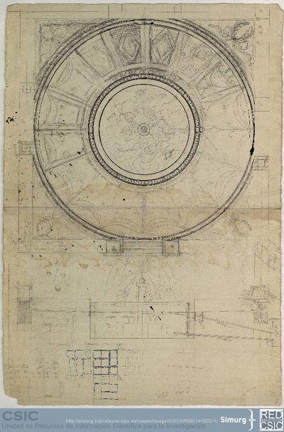 Javier de Winthuysen (1874-1960) | Material gráfico; Planta y alzado de fuente y algunos elementos complementarios del jardín