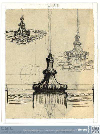 Javier de Winthuysen (1874-1960) | Material gráfico; Dibujo de fuente desde diferentes puntos de vista