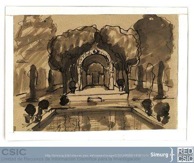 Javier de Winthuysen (1874-1960) | Material gráfico; Dibujo de un jardín de influencias hispano-árabe