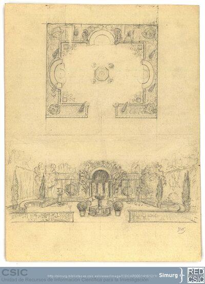 Javier de Winthuysen (1874-1960) | Material gráfico; Planta y sección de un merendero