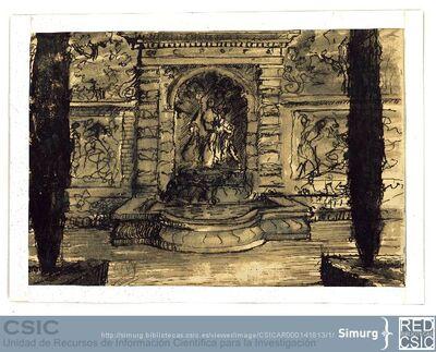 Javier de Winthuysen (1874-1960) | Material gráfico; Dibujo de un conjunto arquitectónico de jardín